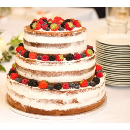 Svatební vanilkový semi-naked dort s lesním ovocem