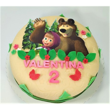 Marcipánový dort s Mášou a medvědem