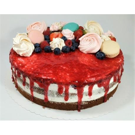 Bezlaktózový ovocný semi-naked dort s makronkami, pusinkami a čerstvým ovocem