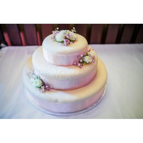 Marcipánový dort se vzorem a růžemi