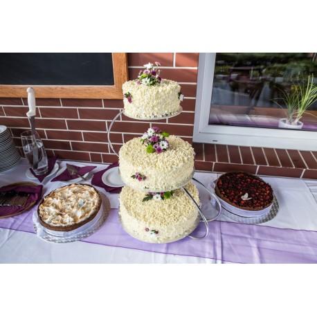 Split dort tří chutí s bílou belgickou čokoládou a živými květinami