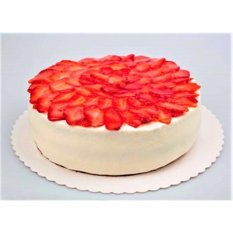Bezmléčný jahodový dort s vanilkovým krémem