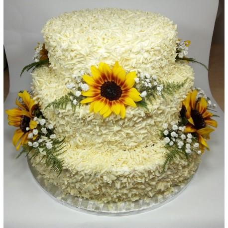 Svatební podzimní vanilkový dort se slunečnicí